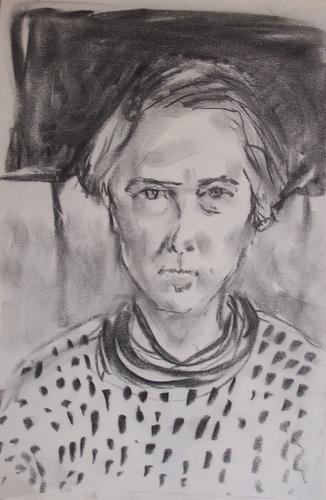 charcoal self portrait, 2005