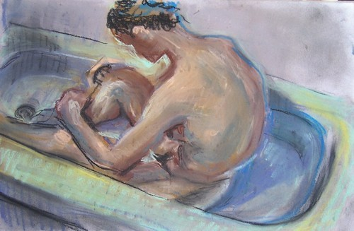 bather in tub
