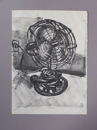 stone lithograph electric fan