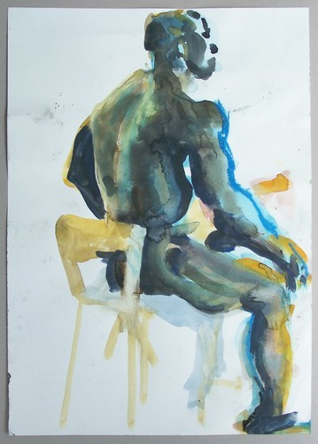 watercolor nude man seated