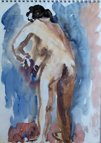 watercolor woman washing her panties
