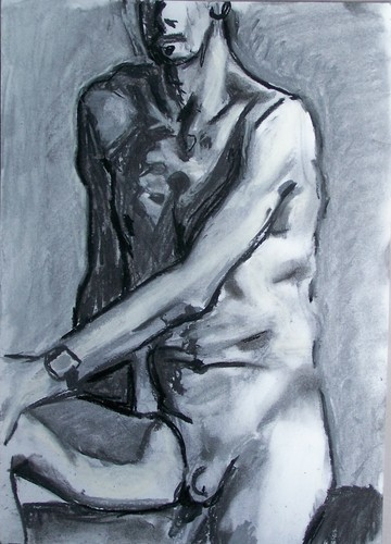 chalk male nude with watch