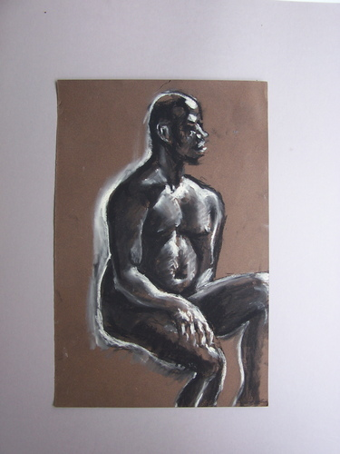 chalk male nude brown paper
