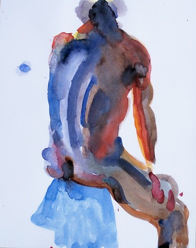 watercolor seated male back