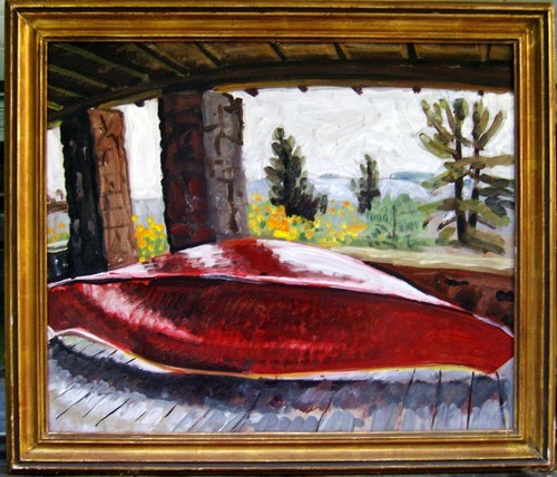 oil red canoe on the porch