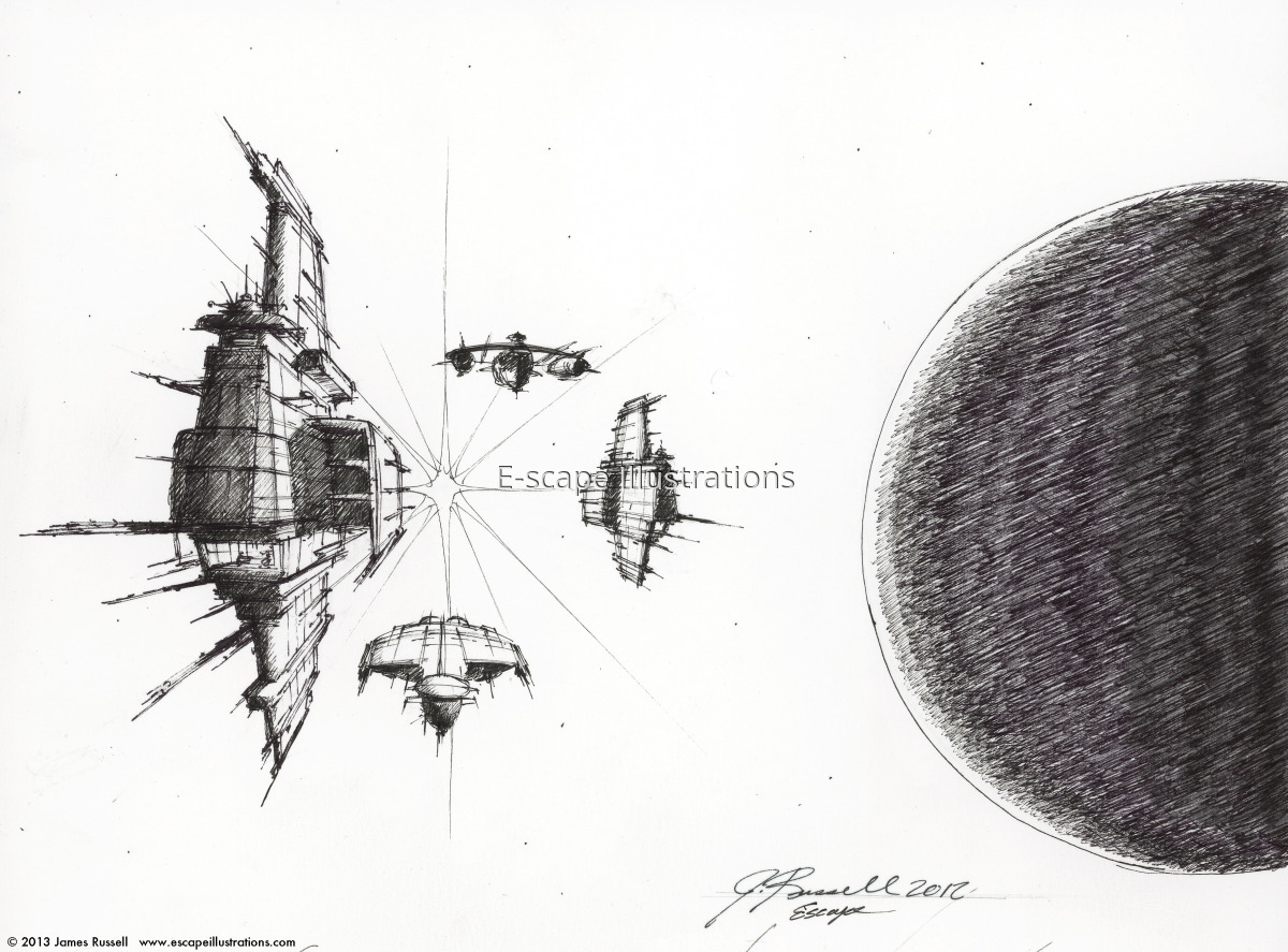 """James K. Russell, """"Task Force"""" (concept sketch) (large view)"""