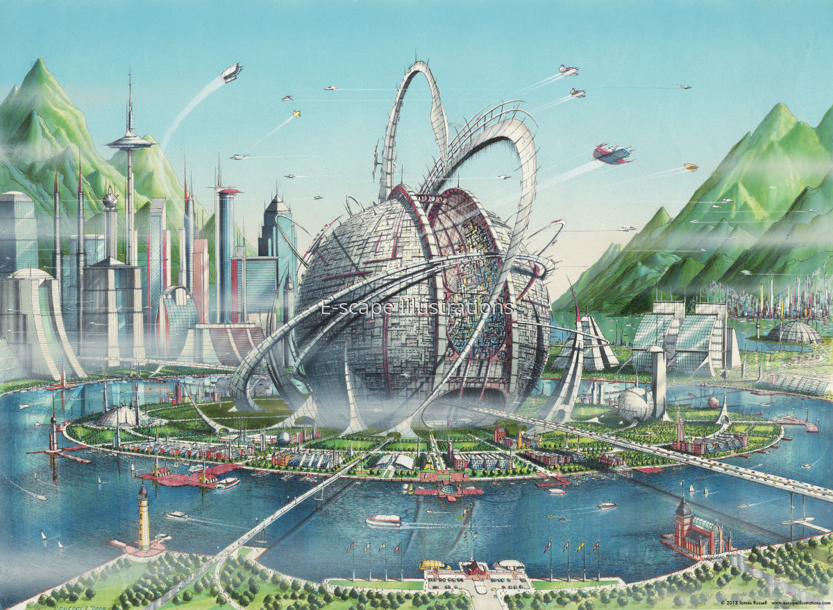 """James K. Russell, """"Sphere,"""" large spherical complex that would house thousands of scientists & engineers somewhere in the South Pacific (large view)"""