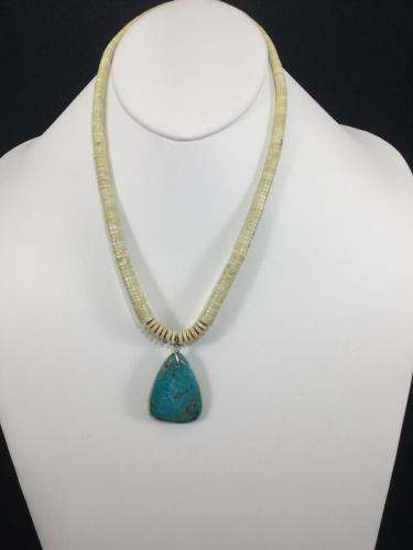 Yellow serpentine w/ turquoise pendent by Sharon Abeyta