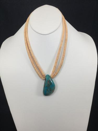 2-strand melon shell w/turquoise pendent