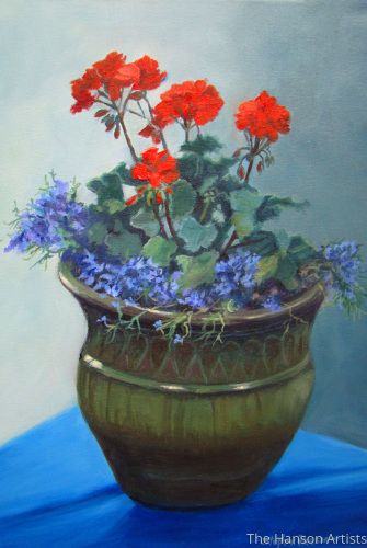 Geraniums in a Pot