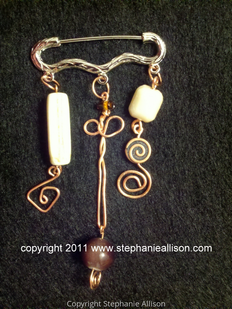 copper wire and bead brooche (large view)