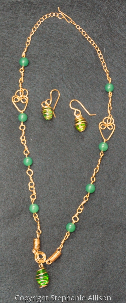 Caged Bead Necklace and Earrings Set (large view)