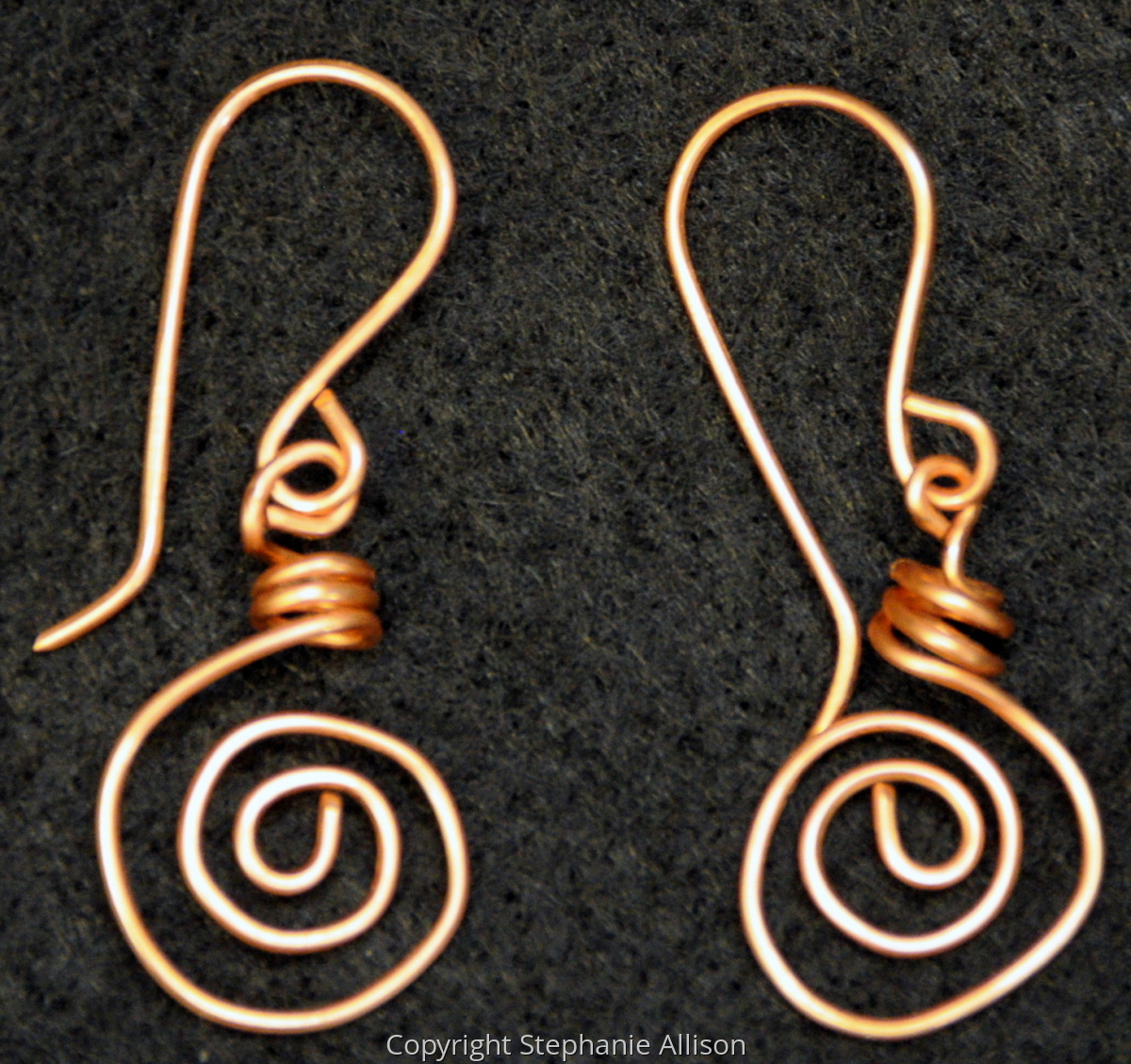 Earrings, Copper Swirl (large view)