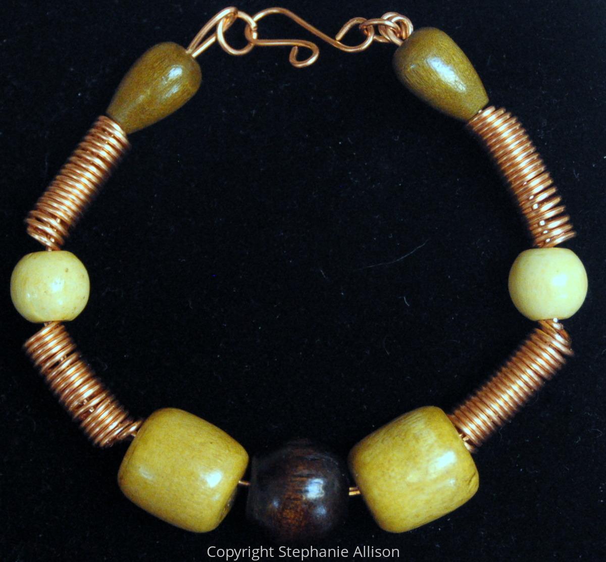 Bracelet, Copper & Wood Bead (large view)
