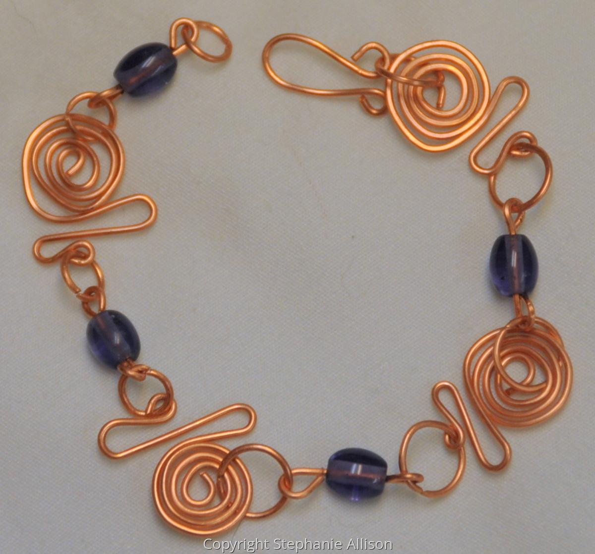 Bracelet, Copper & Purple Beads (large view)
