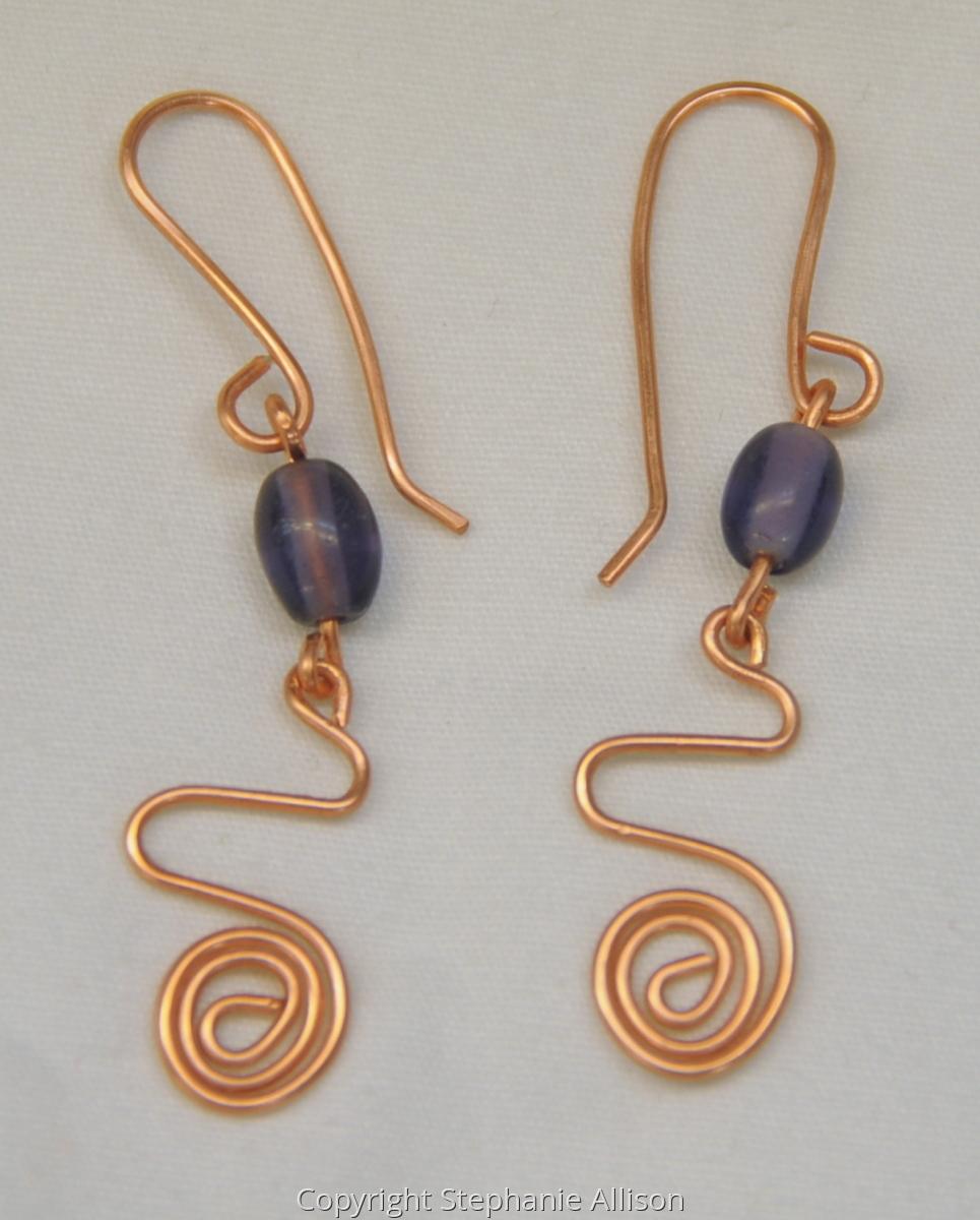 Earrings, Copper Wire & Purple Bead (large view)