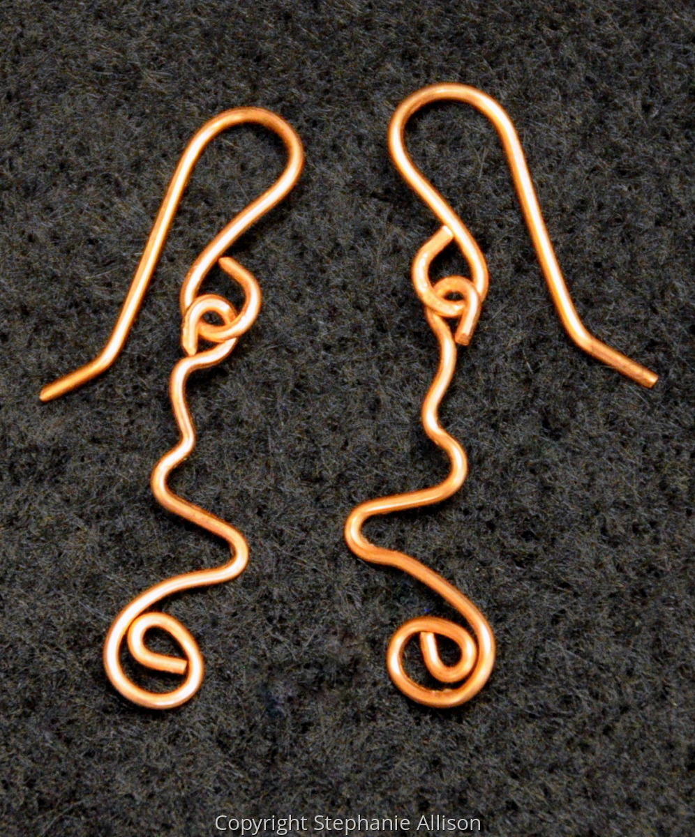 Earrings, Copper Wire Loop & Swirl (large view)