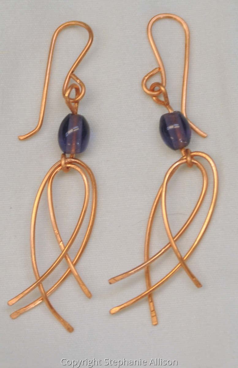 Earrings, Copper Cross Loops (large view)