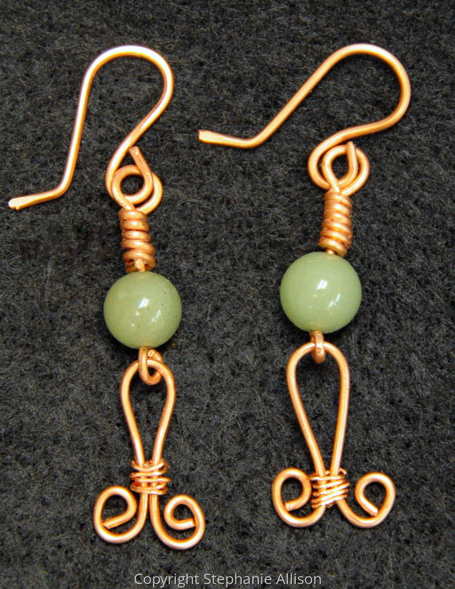 Earrings, Copper & Green Aventurine (large view)