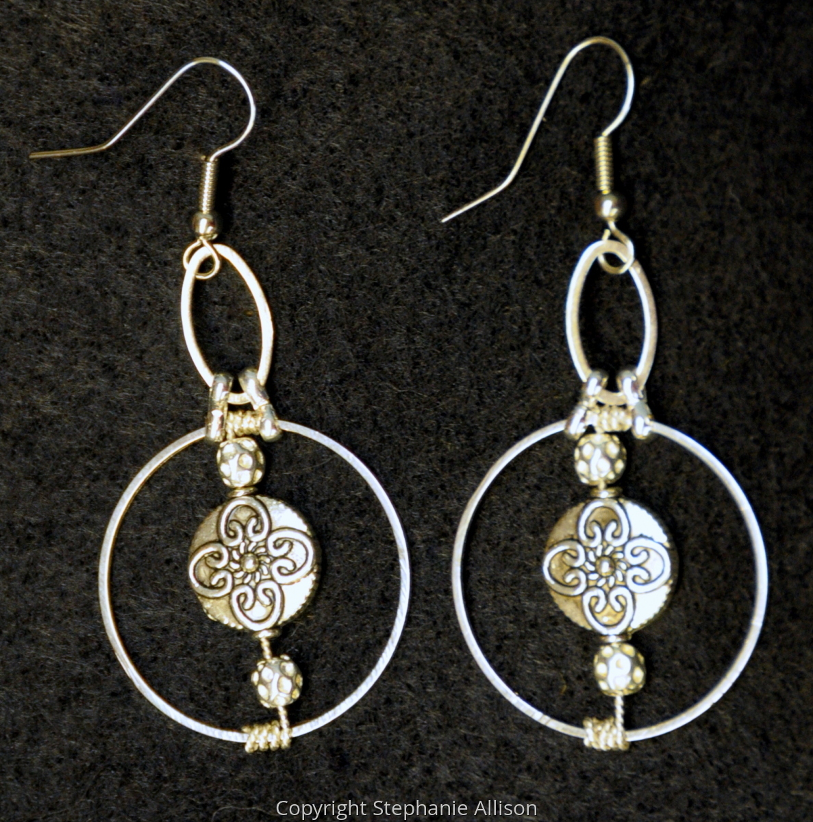 Earrings, Hoop & Pewter Accent (large view)