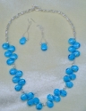 Blue Tear Drop Necklace & Earrings (thumbnail)