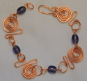 Bracelet, Copper & Purple Beads (thumbnail)