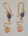 Earrings, Copper Wire & Purple Bead (thumbnail)