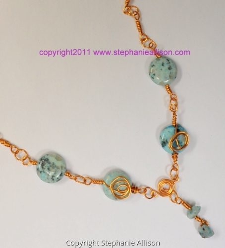 copper wire and bead necklace (large view)