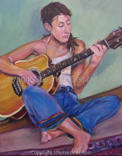 girl with guitar painting (large view)