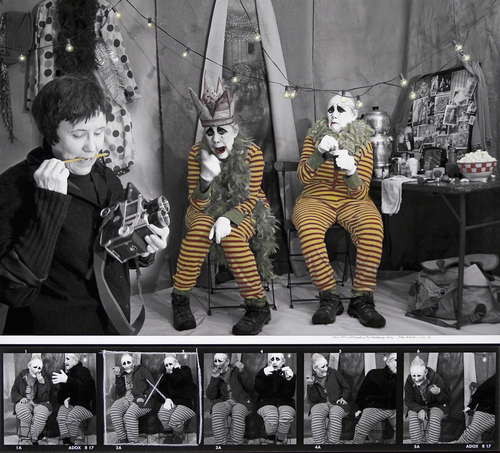 Diane Arbus photographing the Doppelgänger Twins by Sally Stockhold