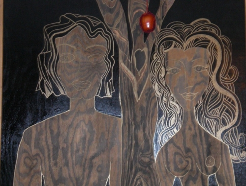 Adam, Eve & Tree before eating the apple