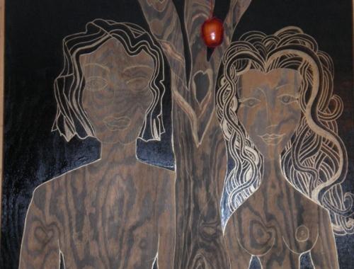 Adam, Eve & Tree before eating the apple