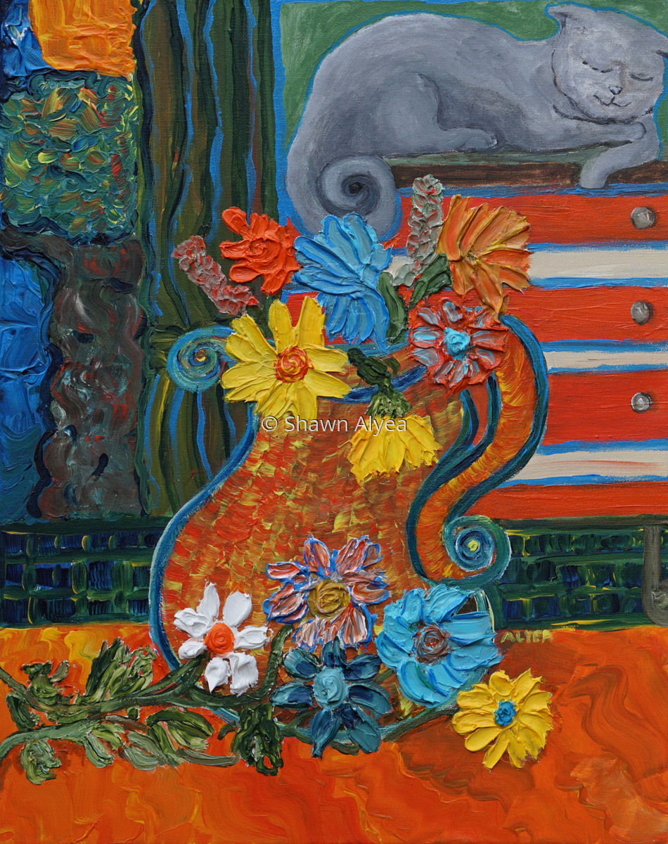 A Vase of Flowers with Grey Cat (large view)