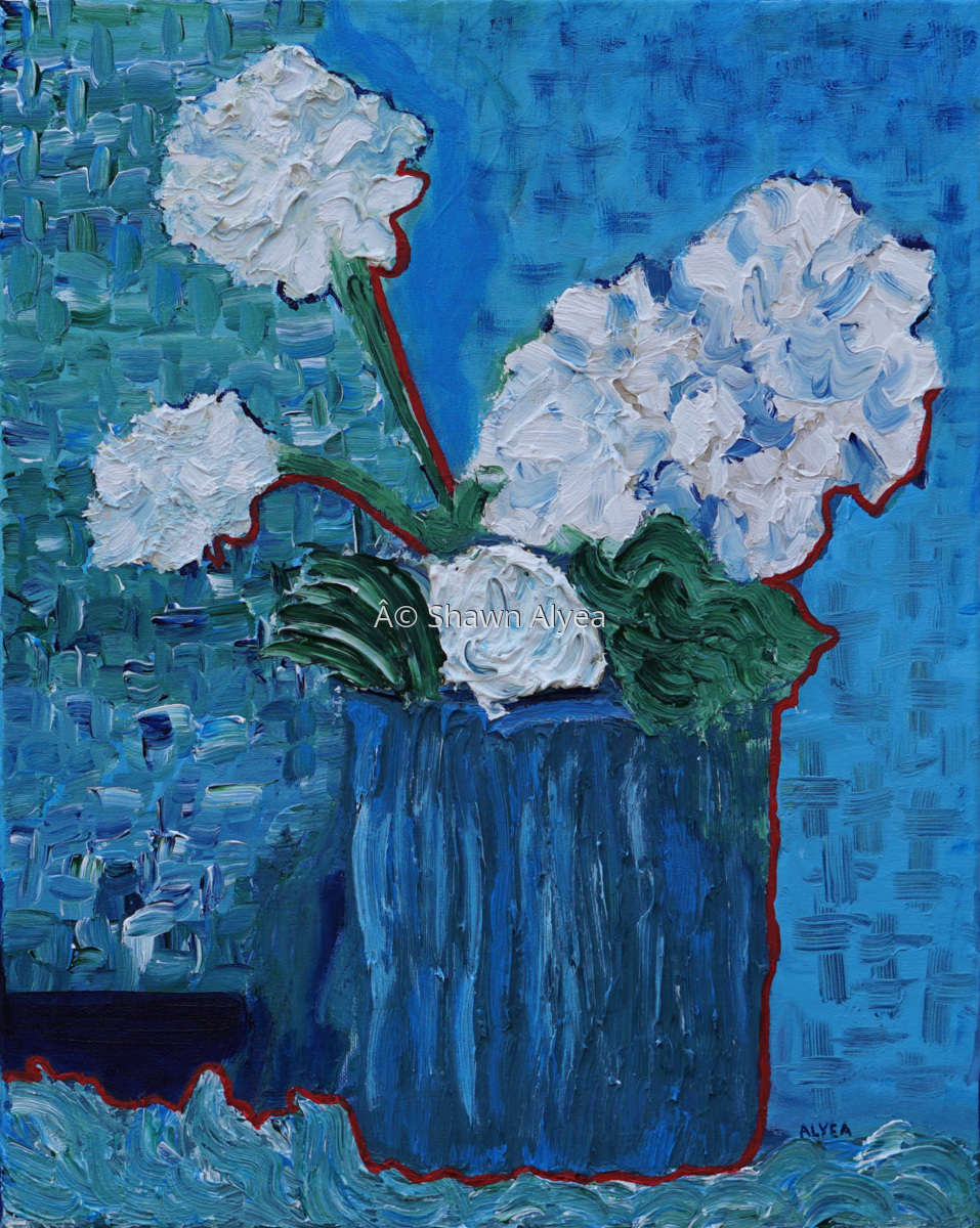 White Carnations with Rose and Red Outline (large view)
