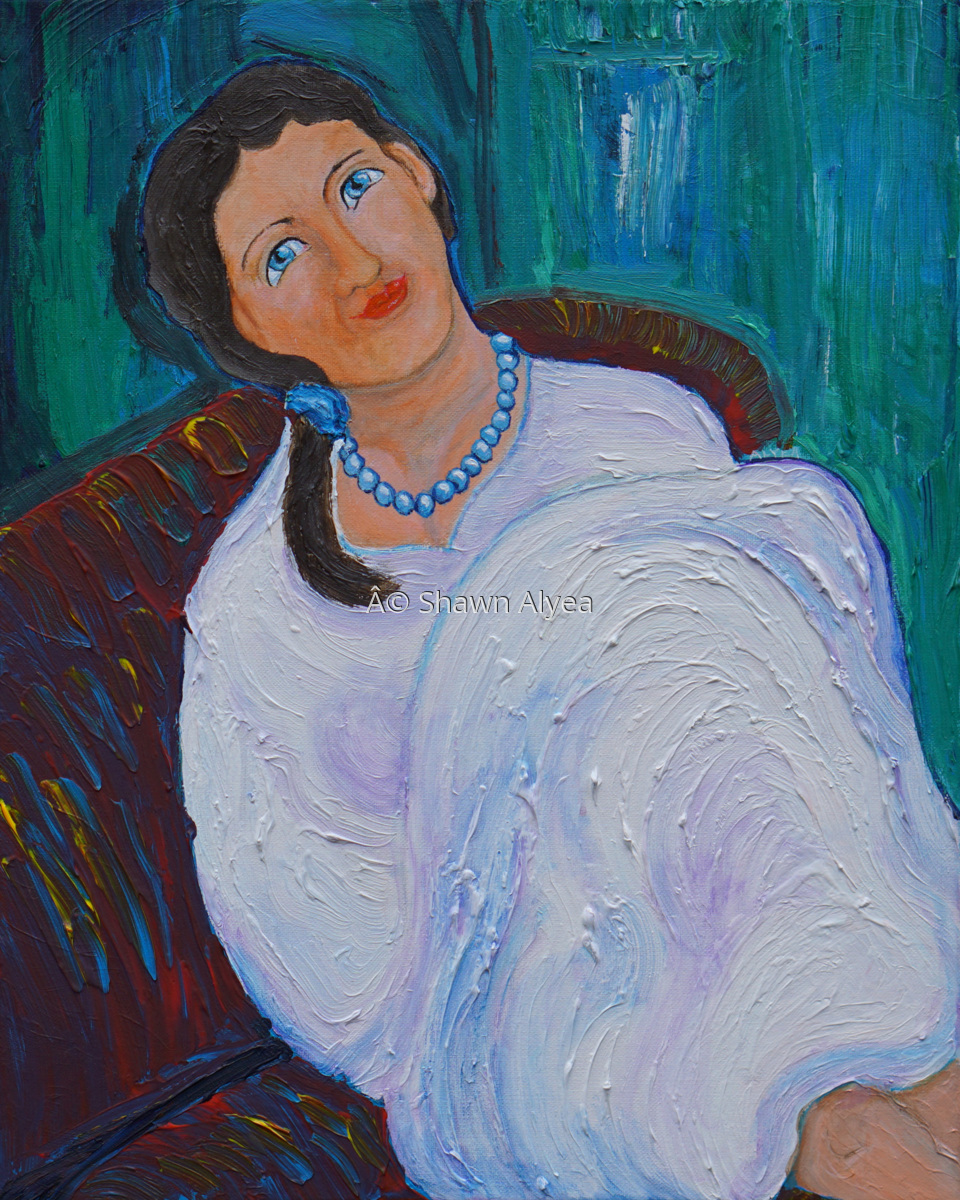 Woman in White Dress on Divan (large view)
