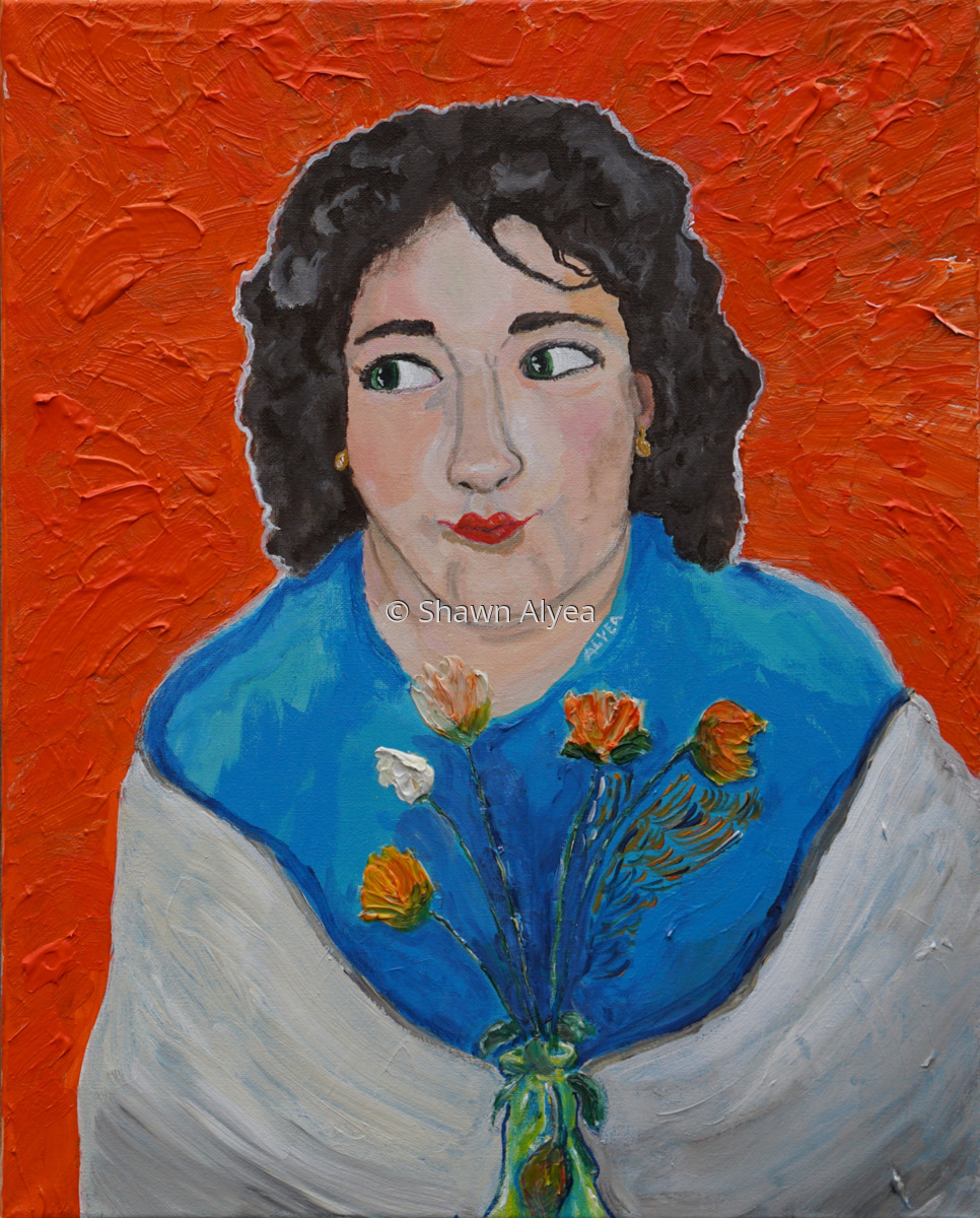 """Karin in White Shawl with Flowers"" (large view)"