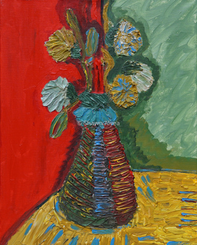 Flowers in Vase with Red and Green Background