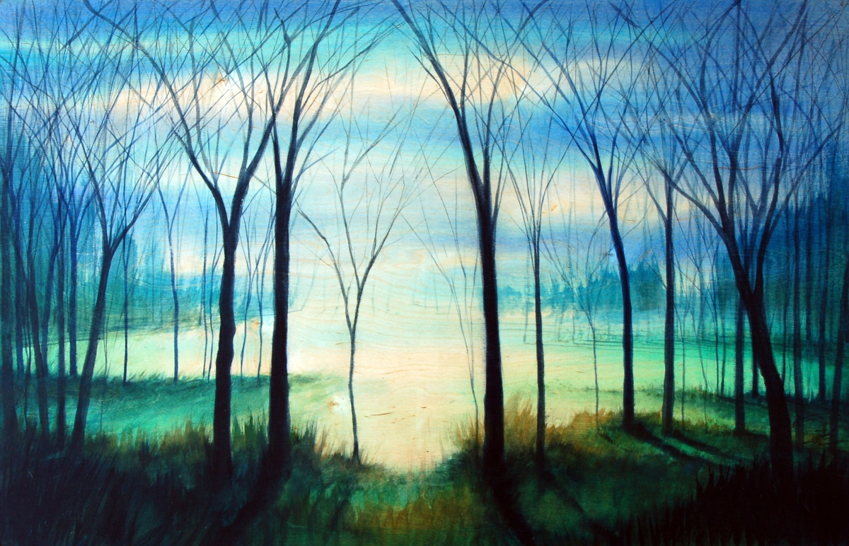 The painting is a reflection of hope, and the promise of peace as our faith pulls us through the dark places.  The forest of trees represents us; we are all in our own spot, emphasized by the differing distances and levels of the individual trees, moving  (large view)
