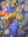 grape vines and grapes, purple, greens - Still Life Painting