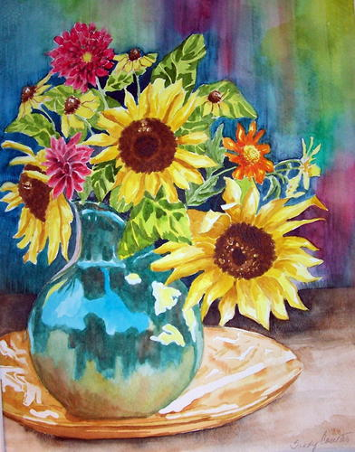 Sunflowers in Pitcher by Sandy Coulter