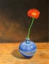 "11""x14"" oil painting of a blue vase with gerber daisy, sandy lee fine art, sandy lee artist (thumbnail)"
