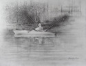 Pencil drawing of man fishing from a kayak (thumbnail)