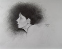 Pencil profile portait of young woman (thumbnail)