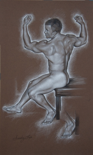 ERIC ON BENCH by SANDY LEE FINE ART