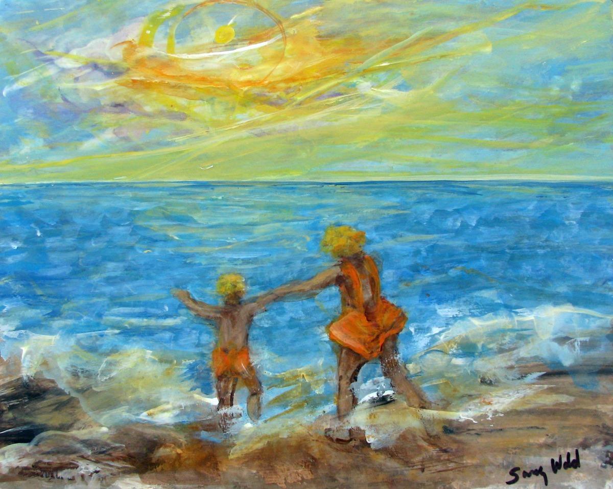 children, kids, ocean, surf, figurative, Impressionism, figurative, beach scene (large view)