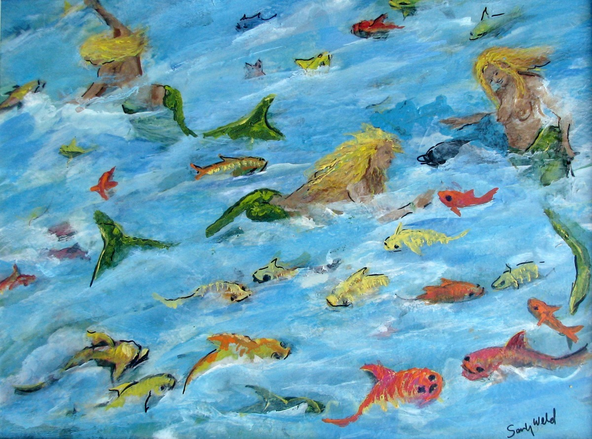 mermaids, dolphins, fish, ocean, fantasy, yellow, green, figurative, animals, sea life (large view)