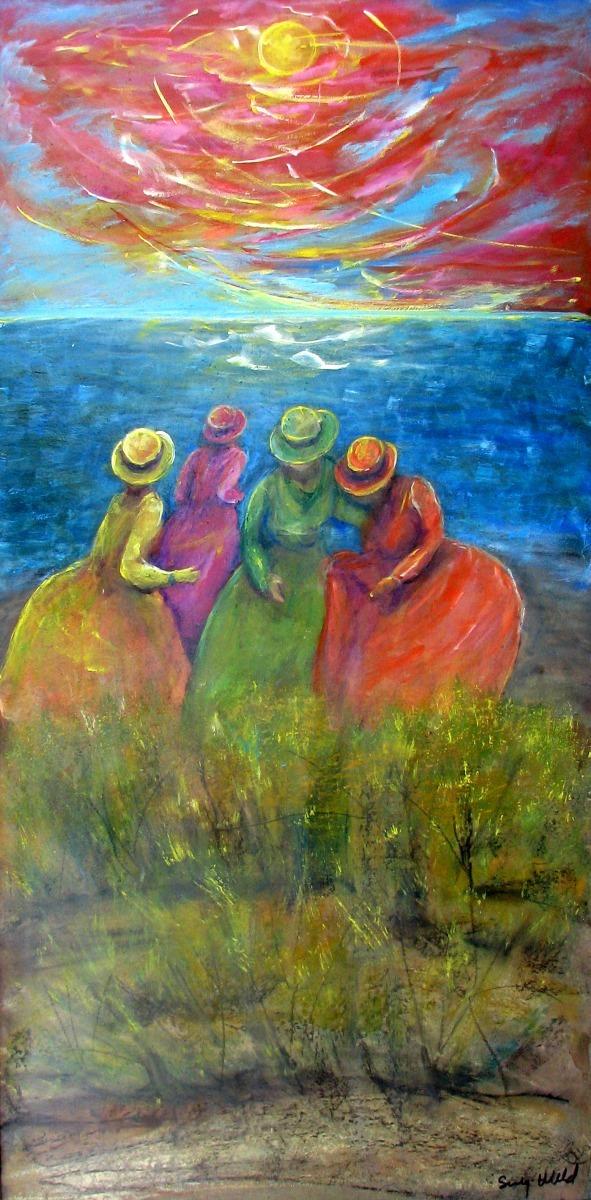 figurative, beach, ocean, seaside girls, citrus colors, vertical, orange skies, dancing (large view)