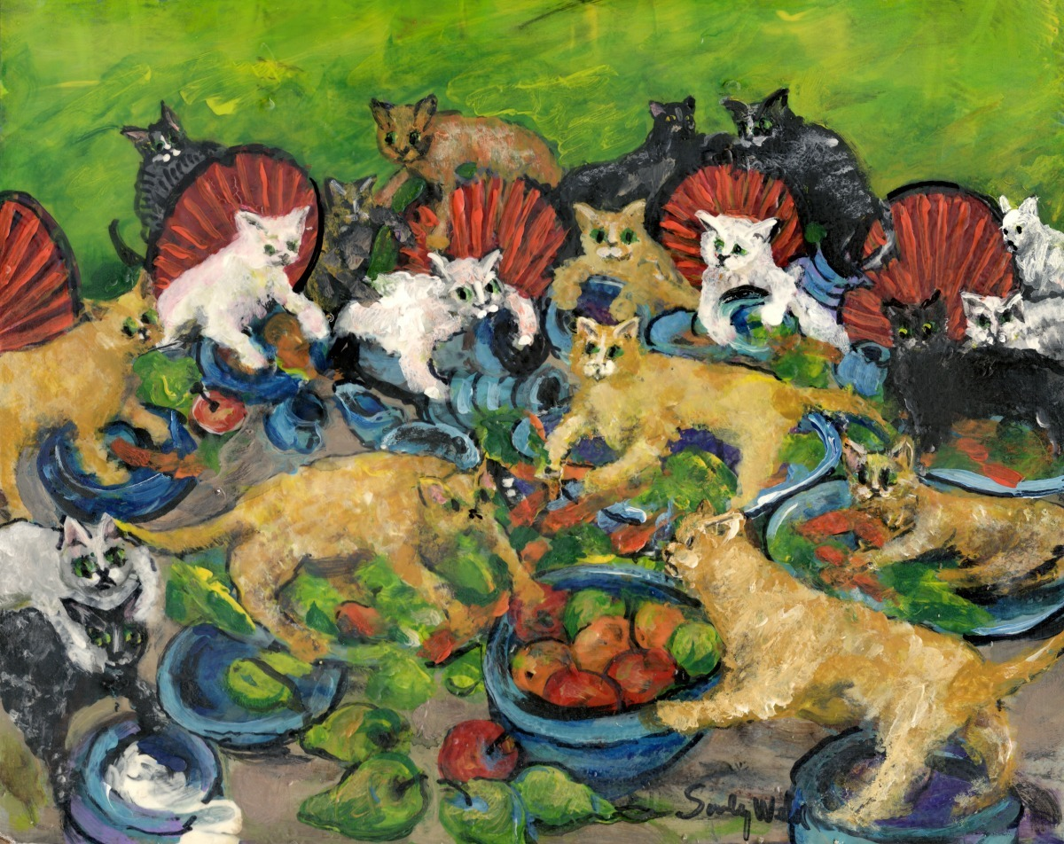 Impressionism, primitive, cats, kittens, painting, colorful,animals, fantasy,  pets, whimsical, animals (large view)