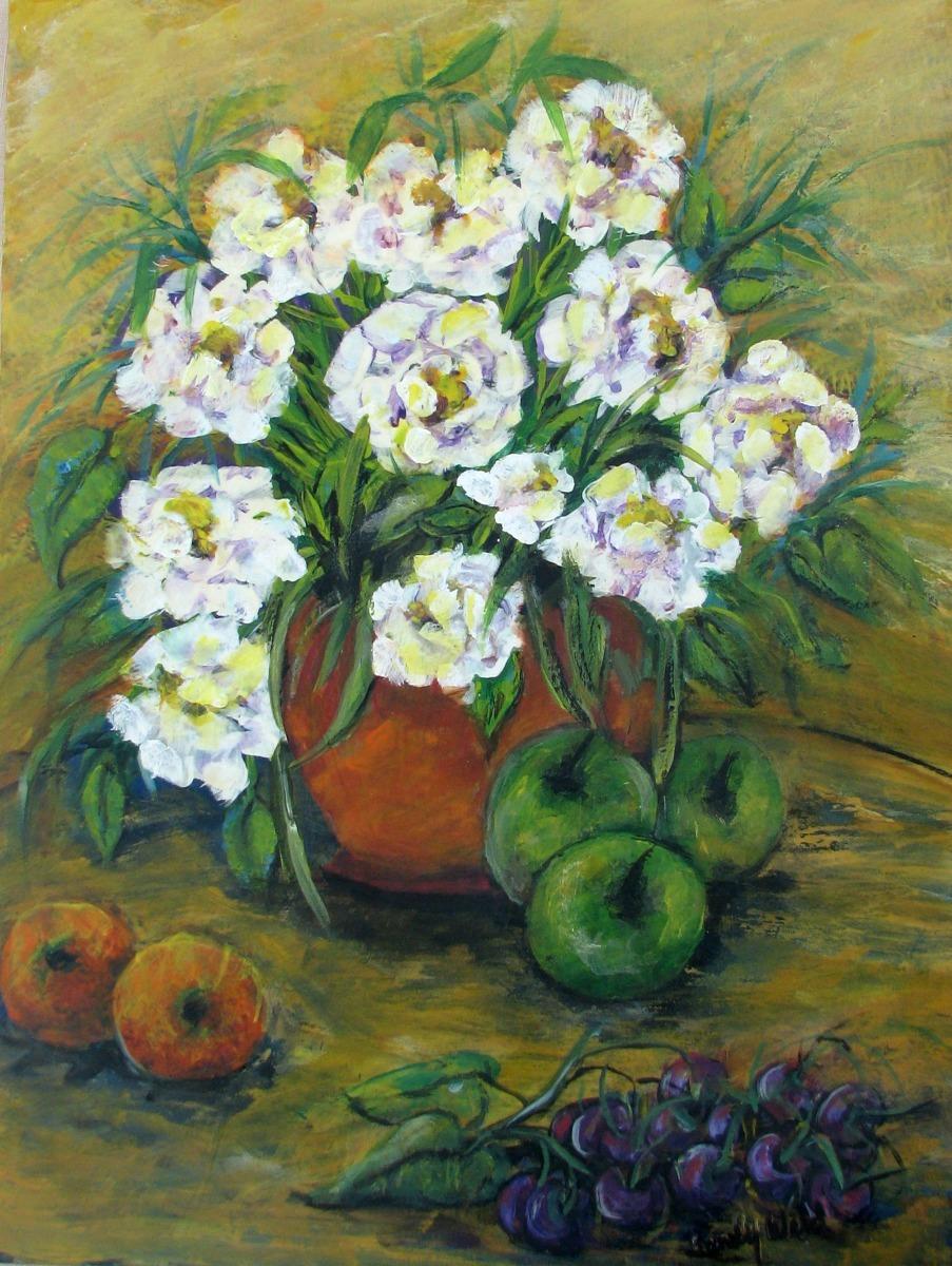 hydrangeas, copper - colored pot, table top, dining, floral, arrangement, fruit, citrus tones (large view)