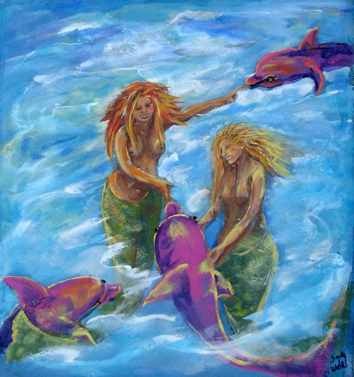 Sandy Weld's acrylic paining of Mermaids nurturing pink dolphins in blue ocean scene.  (large view)